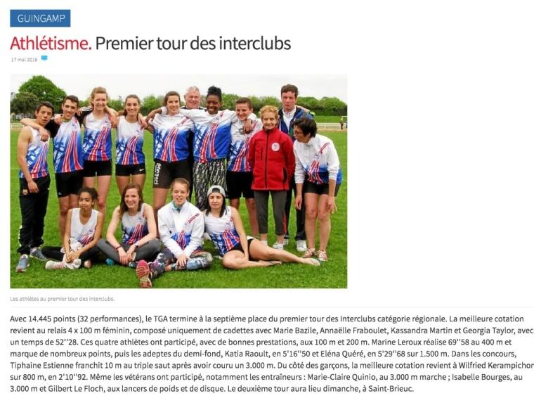 Athlétisme. Premier tour des interclubs - Guingamp - LeTelegramme.fr-001