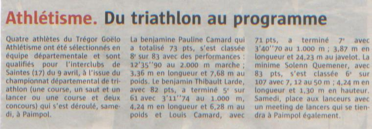 Télégramme triathlon Paimpol