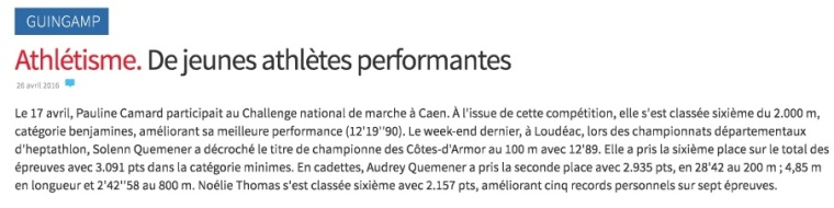 Athlétisme. De jeunes athlètes performantes - Guingamp - LeTelegramme.fr-001